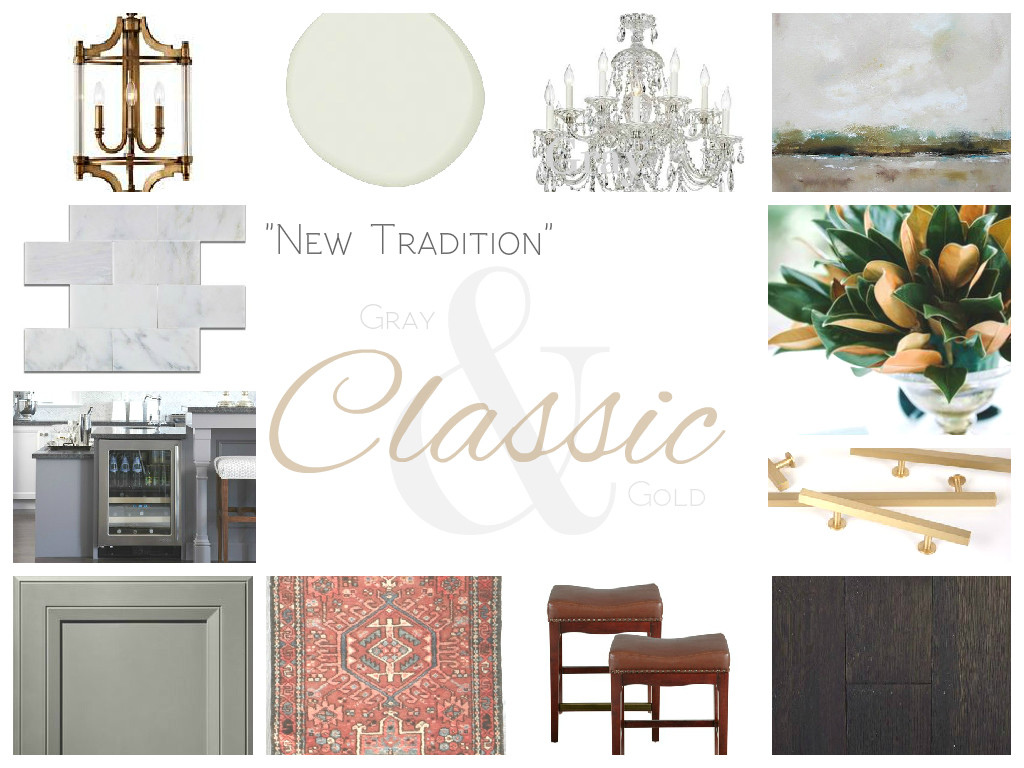 Gray and Gold Classic Traditional Kitchen - Carrara Marble and Gray Cabinets and Gold Hardware