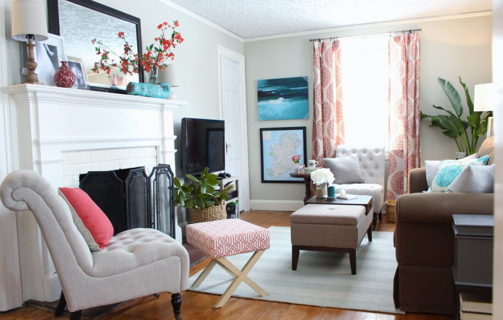 Coral and Teal Classic Living Room Interior Design