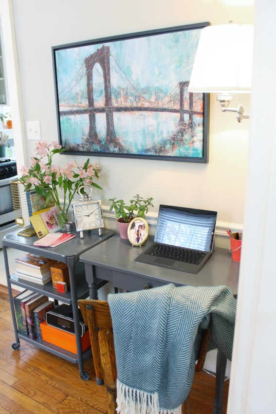 Eclectic and Colorful dining room and home office - Traditional yet modern - Coral and Teal