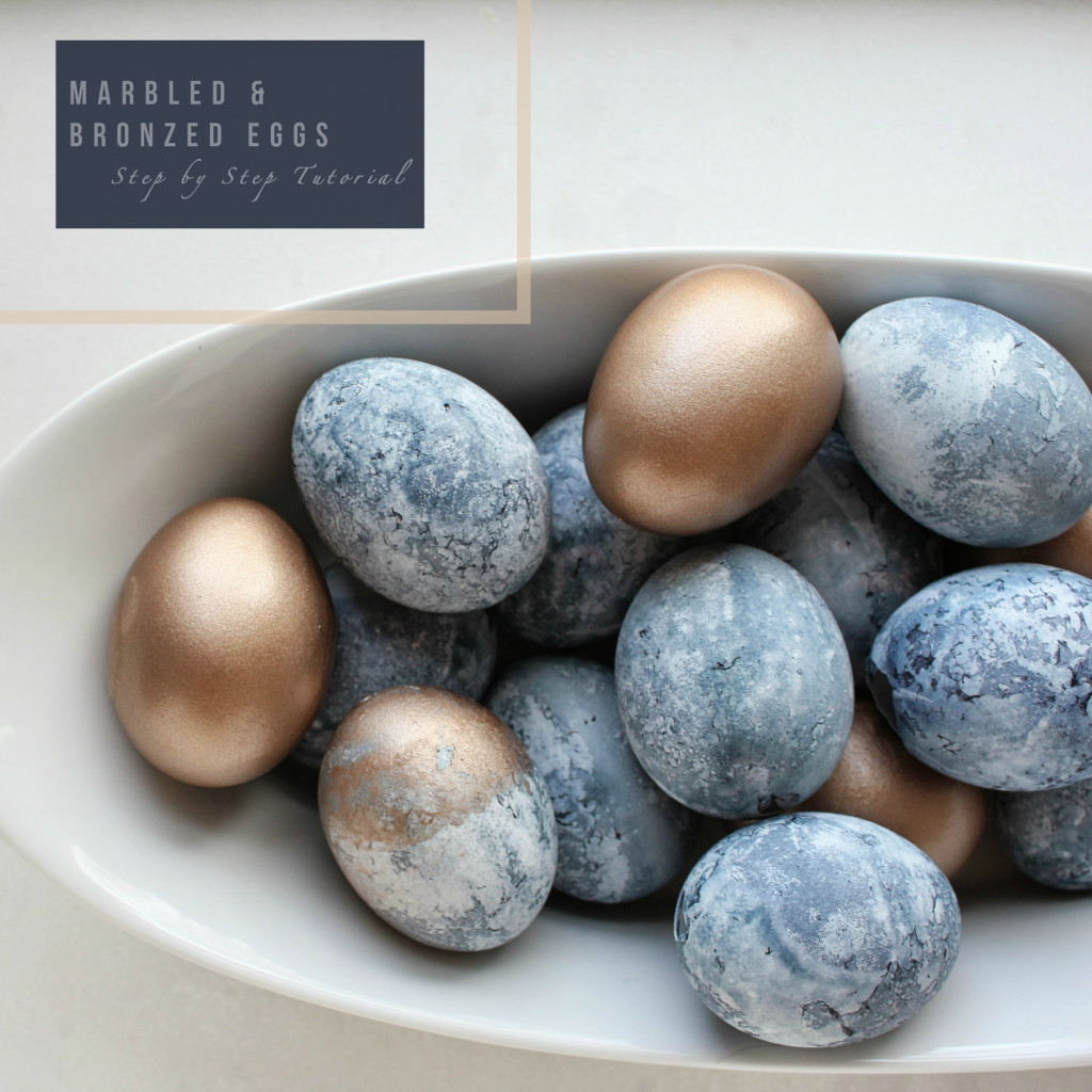 DIY: MARBLED & BRONZED EGGS {& SO EASY!}