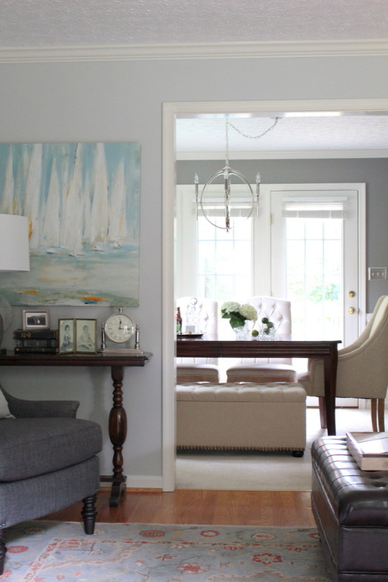 Mix of Old and New - A Gray & Linen Living Room Makeover