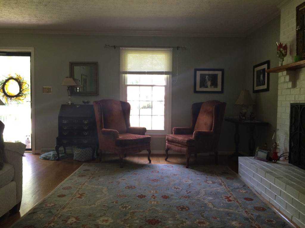 The Before: Mix of Old and New - A Gray & Linen Living Room Makeover