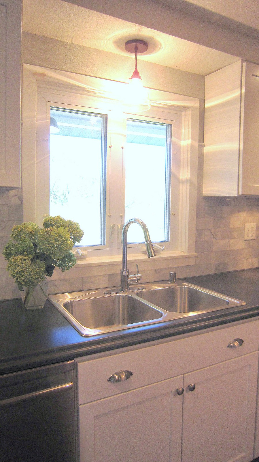BEFORE & AFTER: Affordable Farmhouse Kitchen Renovation - Gray and White - Granite and Laminate Counters - Marble Backsplash