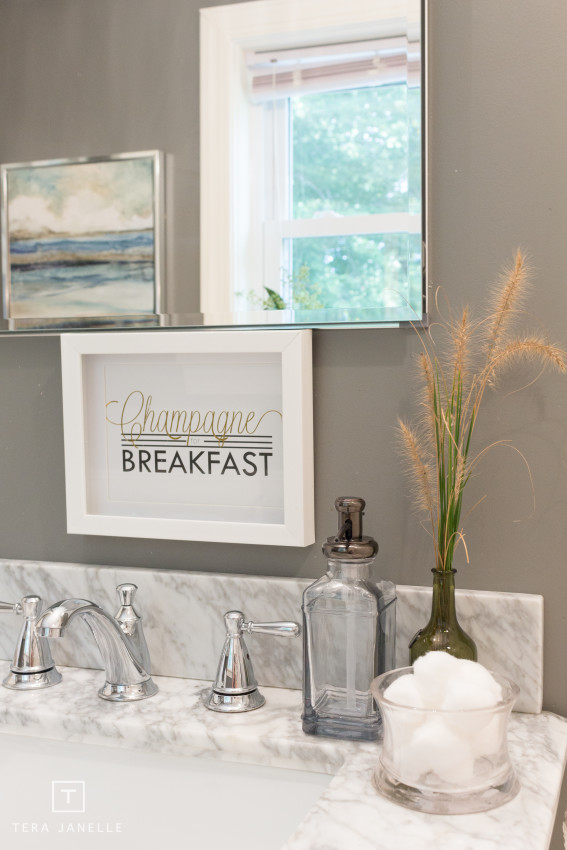 Cape Cod Gray and Marble Bathroom Reveal - Tera Janelle Design